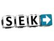 3D Swedish Krona Currency SEK Button Click Here Block Text