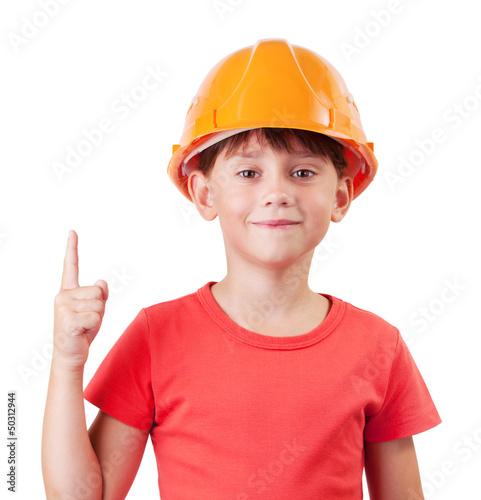 Girl in the construction helmet