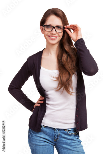 Friendly girl with glasses