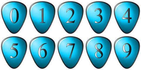 Série de nombre sur bouclier bleu