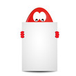 Red egg holding paper