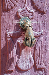 ancient door knocker close-up