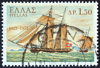 """Terpsichore"" warship from Hydra island (Greece 1971)"