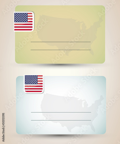 business card with flag and map of USA