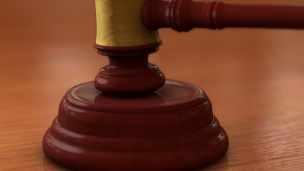 Close up of Wooden Courtroom Gavel or Mallet