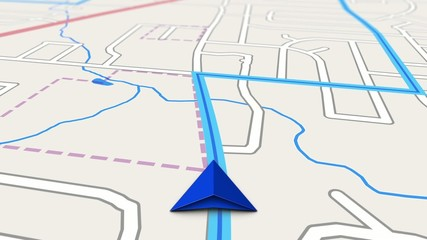 GPS Turn by Turn Navigation Screen of Simulated Travel