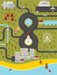 Map of resort town. Vector illustration.