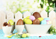 Composition of Easter and chocolate eggs on natural background