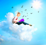 School Girl or Student on a Cloud Reading a book. Education