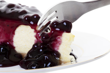 Blueberry Cheesecake With Fork
