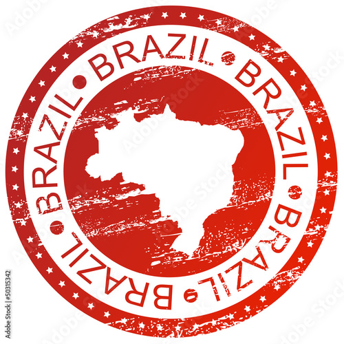 Stamp - Brazil, with map