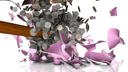 Hammer Shattering A Piggy Bank full of coins In Slow Motion