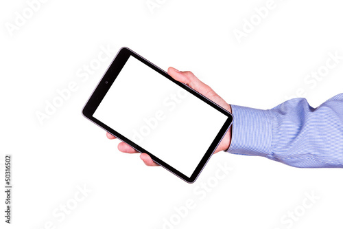 Male hand holding a tablet PC with space for you text