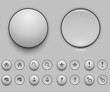 Blank white push button template