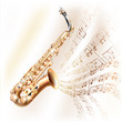 Classical saxophone alto on white background with musical notes