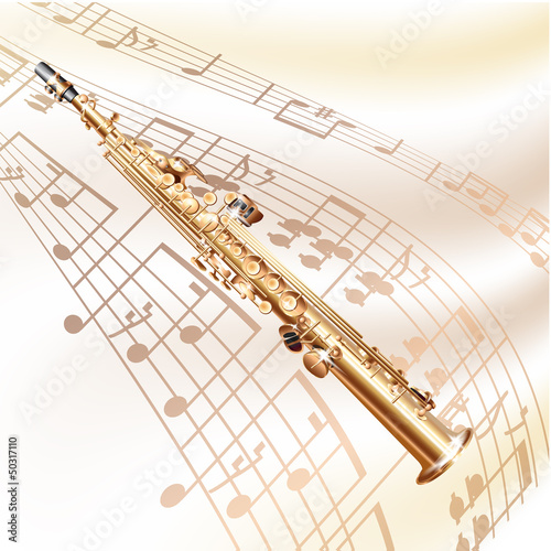 Classical soprano sax on white background with musical notes