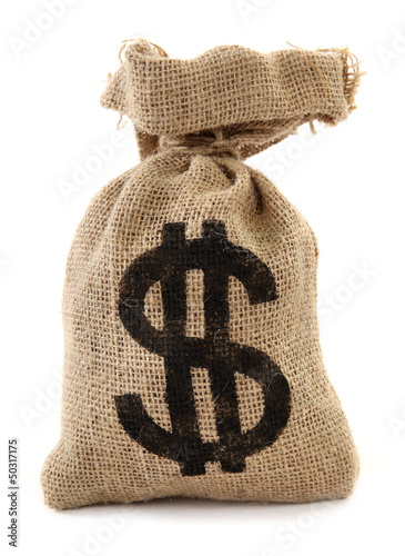 Money bag burlap sack full of dollars