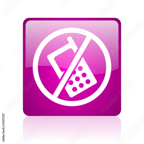 no phones violet square web glossy icon