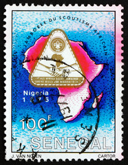 Postage stamp Senegal 1976 Jamboree Emblem and Map of Africa