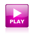 play violet square web glossy icon