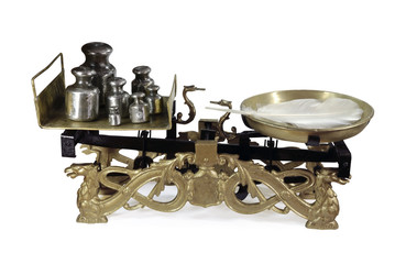 Antique scale, on white background