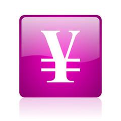 yen violet square web glossy icon