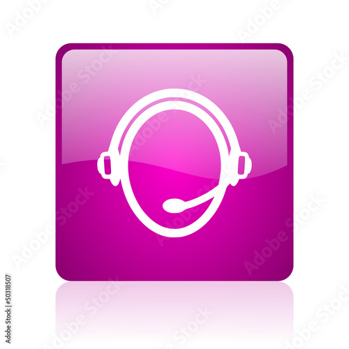 customer service violet square web glossy icon