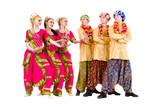 dancers dressed in Indian costumes posing