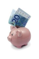 pig bank with twenty euros isolated on white background