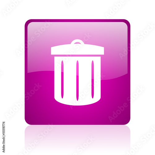 recycle violet square web glossy icon