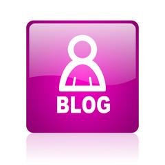 blog violet square web glossy icon