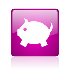 piggy bank violet square web glossy icon