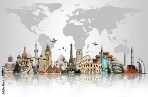 Poster Travel the world monuments concept