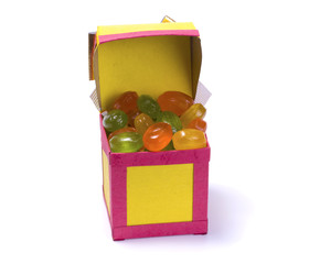 Handmade paper box with candy