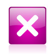 cancel violet square web glossy icon