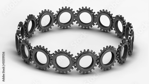 Interlocking team of 3D gears in seamless loop