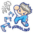 Hurdles game and jump vigorously Man Mascot. Sports Character De