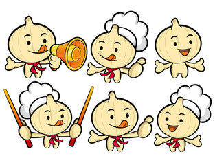 Flexibility as possible a set of Cook Garlic Mascot. Food and Ma
