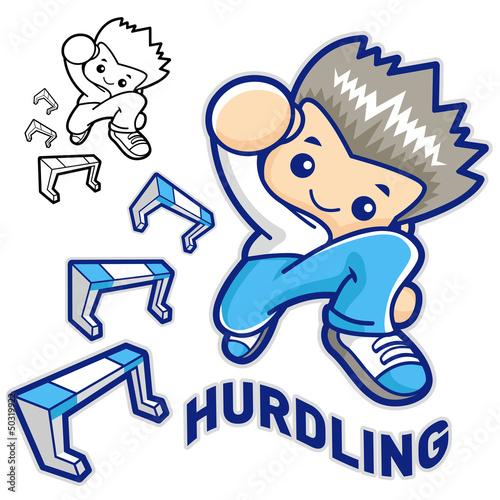 Hurdles game and jump vigorously Man Mascot. Sports Character De