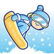 Dynamic jump Snowboarding man mascot. Sports Character Design Se