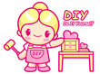 Women your own DIY Furniture is proud. Do it yourself Mascot. Wo