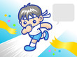 My power to reach the finish sprinter mascot. Sports Character D