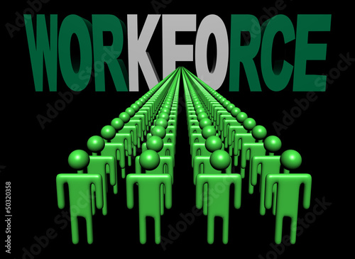 lines of people with workforce Nigerian flag text illustration