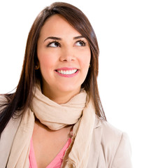 Pensive woman smiling