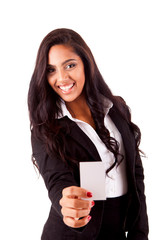 Mix race woman holding empty white card, isolated over white