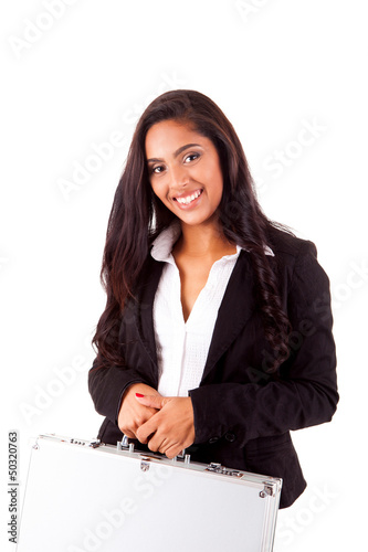Beautiful mix race woman holding metal grey case