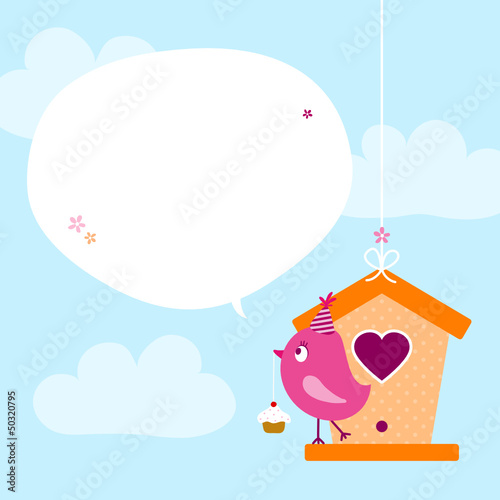 Pink Bird Cupcake Birdhouse Speech Bubble Sky