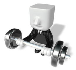 3d man holding their barbell together