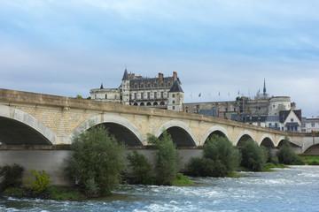 Roman bridge over Loire river and Chateau de Amboise, France
