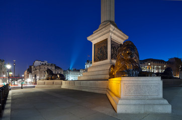 Pedestal Nelson's Column in Trafalgar Square with four lions lyi